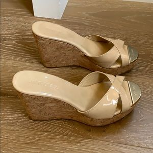 Beautiful nude patent Jimmy Choo wedges